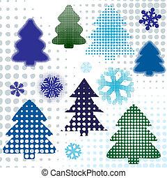 abstract set christmas tree