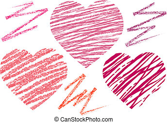 abstract set hearts. chalk drawing - abstract set heart....