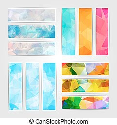 Abstract set of different colorful banners with Modern Triangular Polygonal pattern