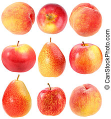 Abstract set of fresh red fruits