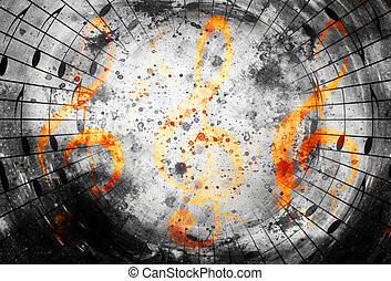 abstract set of music clefs and lines with notes, music theme graphic collage.