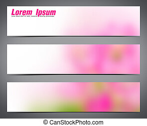 Abstract set of pink three banners