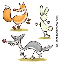 abstract set of wild animals - fox, hare, wolf vector...