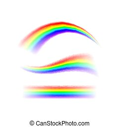 Abstract set Rainbow in different shapes. Spectrum of light, seven colors. Vector illustration isolated on transparent background isolated