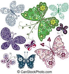 abstract, (set), vlinder
