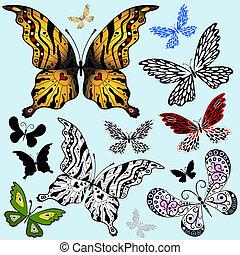 abstract, set, vlinder