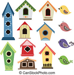 abstract, set, vogels, birdhouse