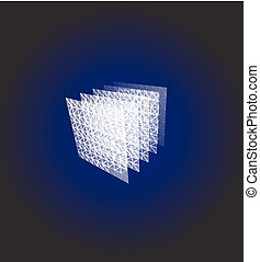 Abstract shape. Blue geometric visualization, layers cube. 3d architecture vector illustration.
