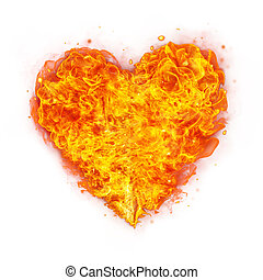 Abstract shape of fire heart on white - Abstract shape of...