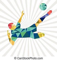 Abstract shape soccer player, polygonal, illustration vector design.