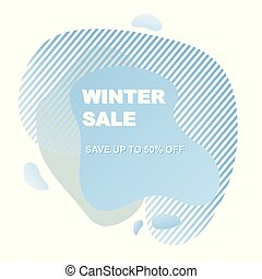 Abstract shapes blue form winter sale isolated on white background.