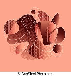 Soft abstract shapes in brown and taupe colors composition. Geometric gradient graphic illustration. Vector illustration for header, card, post, web and print surface design.