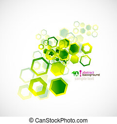 Abstract shapes vector background - Green cell abstract...