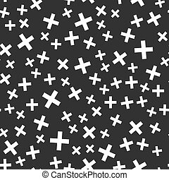 Abstract shapes vector seamless pattern on black