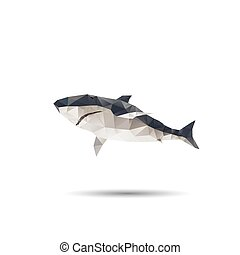 Abstract shark isolated on a white backgrounds