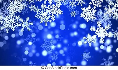 Abstract sharp and blurred particles swarming blue snowflake...