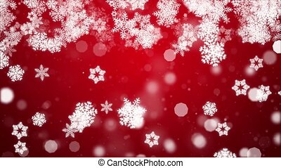 Abstract sharp and blurred particles swarming Red snowflake ...