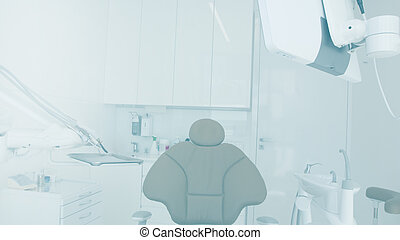 Abstract sharp hospital and clinic interior for background - Processing Blue color white balance
