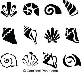 Abstract shell symbol set - Abstract black shell symbol set...