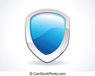 abstract shield icon in blue vector