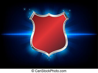 abstract shield label on blue background