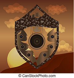 Abstract shield on desert backgroun