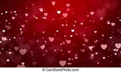 Abstract Shining bokeh hearts particles Motion Loop 4K ...