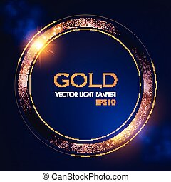 Abstract Shining Circle Gold Banner with Light Effect....