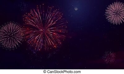 abstract shining fireworks Lights in the night sky Loop Animation Background.