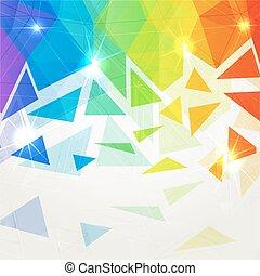 Abstract shining polygonal rainbow background