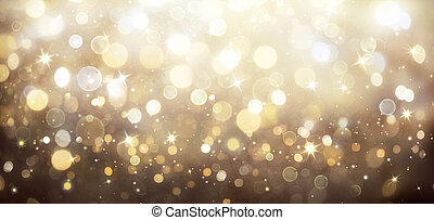 Abstract Shiny Background Golden Lights With Stars