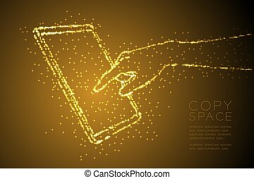 Abstract Shiny Bokeh star pattern Hand touch screen tablet shape, digital concept design gold color illustration isolated on brown gradient background with copy space, vector eps 10