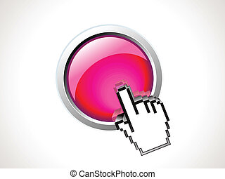 abstract shiny button with hand