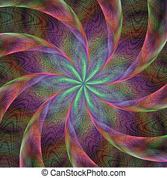 Abstract shiny colorful fractal spiral background
