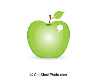 abstract shiny green apple icon