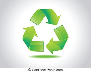 abstract shiny green recycle icon