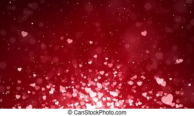 Abstract Shiny Heart Shape Bokeh Red lights Glitter Particles Loop Background Animation.