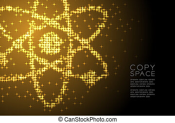Abstract Shiny Star pattern Atom symbol shape, Science concept design Gold color illustration isolated on brown gradient background with copy space, vector eps 10