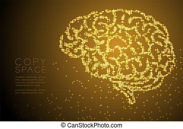 Abstract Shiny Star pattern Brain side view shape, creative science concept design gold color illustration isolated on brown gradient background with copy space, vector eps 10
