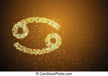 Abstract Shiny Star pattern Cancer Zodiac sign shape, star constellation concept design gold color illustration isolated on brown gradient background with copy space, vector eps 10