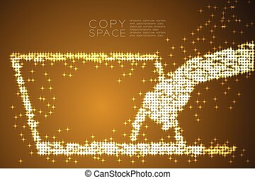 Abstract Shiny Star pattern Hand push button laptop keyboard shape, concept design Gold color illustration isolated on brown gradient background with copy space, vector eps 10
