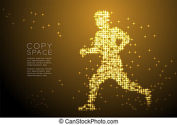 Abstract Shiny Star pattern Man Runner shape, Sport concept design Gold color illustration isolated on brown gradient background with copy space, vector eps 10