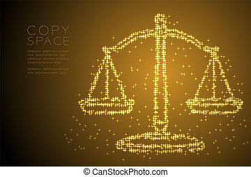 Abstract Shiny Star pattern Scales balance shape, judgment concept design gold color illustration isolated on brown gradient background with copy space, vector eps 10