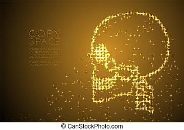 Abstract Shiny Star pattern Skull side view shape, medical science concept design gold color illustration isolated on brown gradient background with copy space, vector eps 10