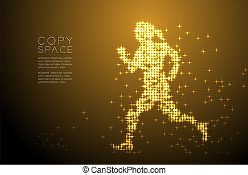 Abstract Shiny Star pattern Woman Runner shape, Sport concept design Gold color illustration isolated on brown gradient background with copy space, vector eps 10