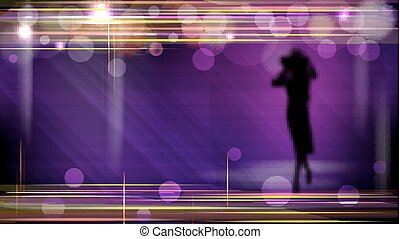 Abstract shiny technology trendy background with beautiful woman silhouette.