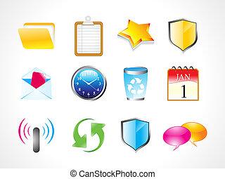 abstract shiny web icon set vector illustration