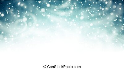 Abstract shiny winter banner with snow, wind and blizzard.