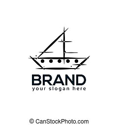Abstract ship logo. flat design. Vector Illustration on white background