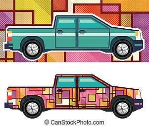 Abstract shrink wrapped pickup truck Vector